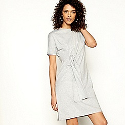 H! by Henry Holland - Grey jersey tie front short sleeve mini dress