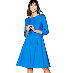 H! by Henry Holland - Mid blue cotton back bow knee length dress