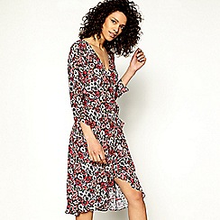 H! by Henry Holland - Cerise floral print knee length frill wrap dress