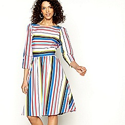 H! by Henry Holland - Multi stripe bow back knee length skater dress