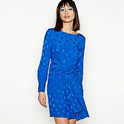 H! by Henry Holland - Blue jacquard spot bow front long sleeve mini dress