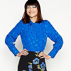 H! by Henry Holland - Blue jacquard spot long sleeve shirt