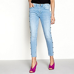 H! by Henry Holland - Pale blue stud skinny jeans