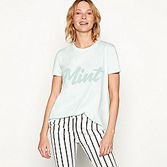 H! by Henry Holland - Light turquoise cotton 'Mint' slogan t-shirt