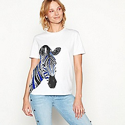 H! by Henry Holland - White placement zebra print cotton t-shirt