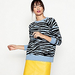 H! by Henry Holland - Blue zebra print jumper