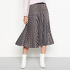 H! by Henry Holland - Gold metallic stripe pleated midi skirt