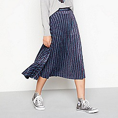 H! by Henry Holland - Purple metallic stripe pleated midi skirt