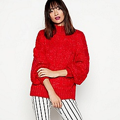 H! by Henry Holland - Red chunky cable knit jumper