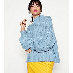 H! by Henry Holland - Light blue chunky cable knit jumper