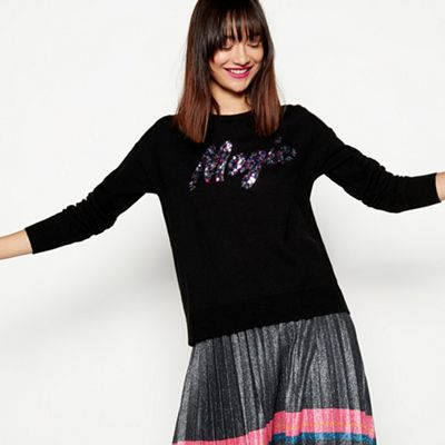 6878216bcc3 H! by Henry Holland Black sequin magic slogan jumper