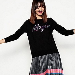 H! by Henry Holland - Black sequin magic slogan jumper