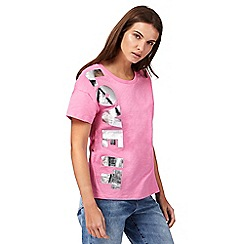 H! by Henry Holland - Pink 'Love It' slogan print t-shirt