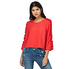 H! by Henry Holland - Red ruffled sleeve top