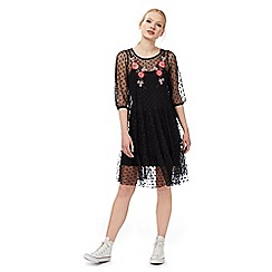 H! by Henry Holland - Black embroidered mesh dress