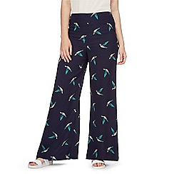 H! by Henry Holland - Navy bird print wide leg trousers