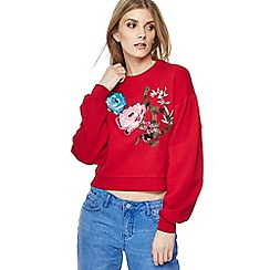 H! by Henry Holland - Red oriental floral print sweater