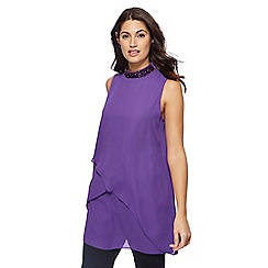 Principles by Ben de Lisi - Purple embellished neck tunic