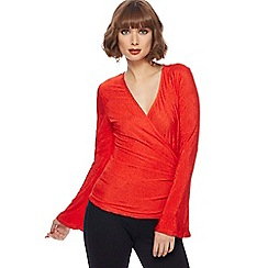 Principles - Red textured wrap top