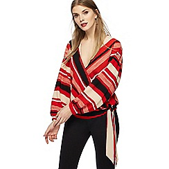 Principles - Red striped crepe wrap top