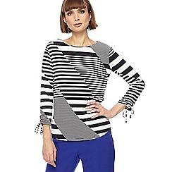 Principles - Black and white asymmetric striped top