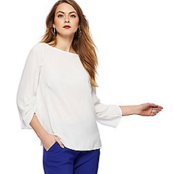 Principles - Ivory ruched sleeves top