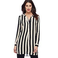Principles - Black latte stripe longline shirt