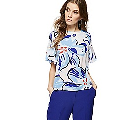 Principles - Blue striped floral print ruffled sleeve shell top
