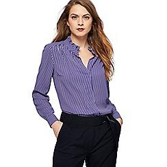 Principles - Royal blue striped frill collar shirt