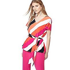 Principles - Dark peach stripe print V-neck kimono sleeve top