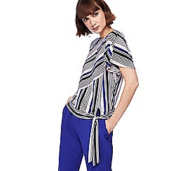 Principles - Multi-coloured striped batwing tie hem top