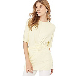 Principles - Yellow striped wrap front top