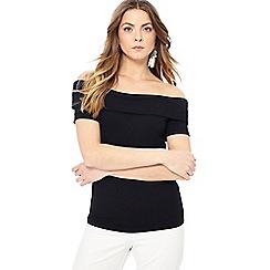 Principles - Black Bardot neck short sleeve top
