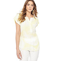 Principles - Yellow palm print short sleeve utility shirt
