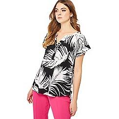 Principles - Black palm print short sleeve utility shirt
