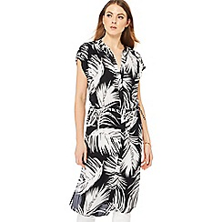Principles - Black palm print midi dress