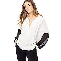Principles - White colour block long sleeve blouse