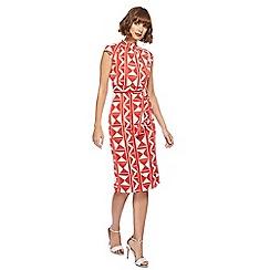 Principles - Red mini ray block high neck midi length dress