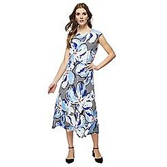Principles - Blue striped floral print midi dress