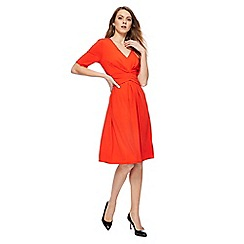 Principles - Red V-neck shirt sleeves knee length tea dress