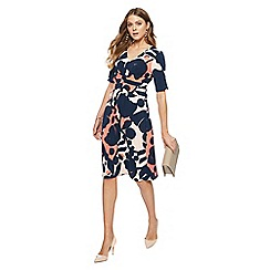 Principles - Navy retro print jersey V-neck midi dress