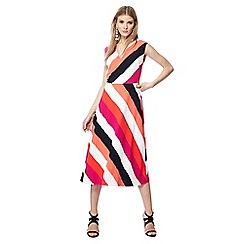 Principles - Bright pink stripe print V-neck midi dress