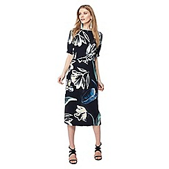 Principles - Black floral print midi dress