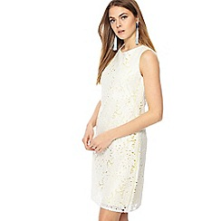 Principles - Yellow lace round neck mini shift dress