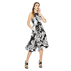 Principles - Black and white palm leaf print midi fit and flare dress