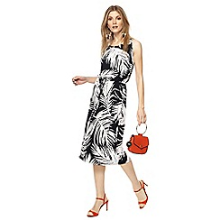 Principles - Ivory palm print midi dress