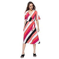Principles - Dark peach printed jersey V-neck midi wrap dress