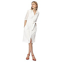 Principles - Ivory broderie knee length shirt dress