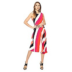 Principles - Multi-coloured asymmetric striped round neck midi dress