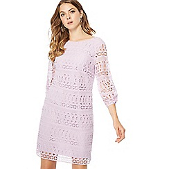 Principles - Lilac lace puff sleeve mini shift dress